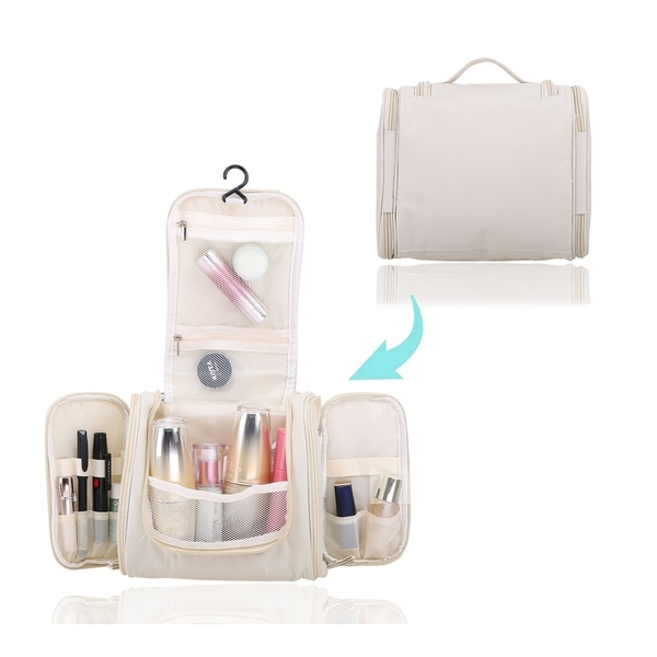 Compact Hanging Flat Bottom Unisex Toiletry Storage Organizer for Travel - Durable, Water-Resistant, & Stylish. Opens flyout.