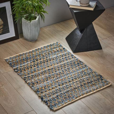 Bramble Boho Hemp, Cotton and Denim Scatter Rug by Christopher Knight Home - 2' x 3'