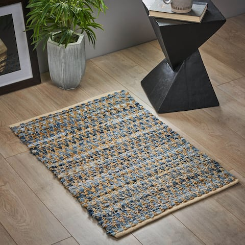 Bramble Boho Hemp, Cotton and Denim Scatter Rug by Christopher Knight Home