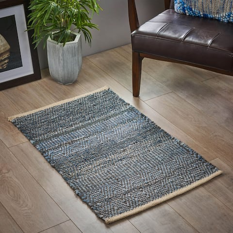 Coloma Boho Denim, Wool and Cotton Scatter Rug by Christopher Knight Home - 2' x 3'