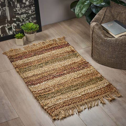 Burwood Boho Jute and Leather Scatter Rug by Christopher Knight Home
