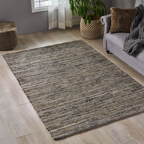 Chenery Boho Hemp and Fabric Area Rug by Christopher Knight Home
