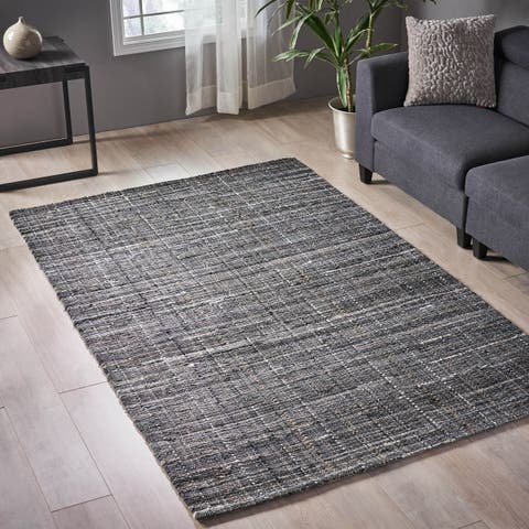 Auldearn Modern Fabric and Leather Area Rug by Christopher Knight Home