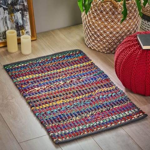Bachman Boho Fabric and Cotton Scatter Rug by Christopher Knight Home