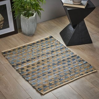 Creekside Boho Denim and Hemp  Scatter Rug by Christopher Knight Home