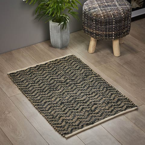 Carmody Boho Hemp and Leather Scatter Rug by Christopher Knight Home
