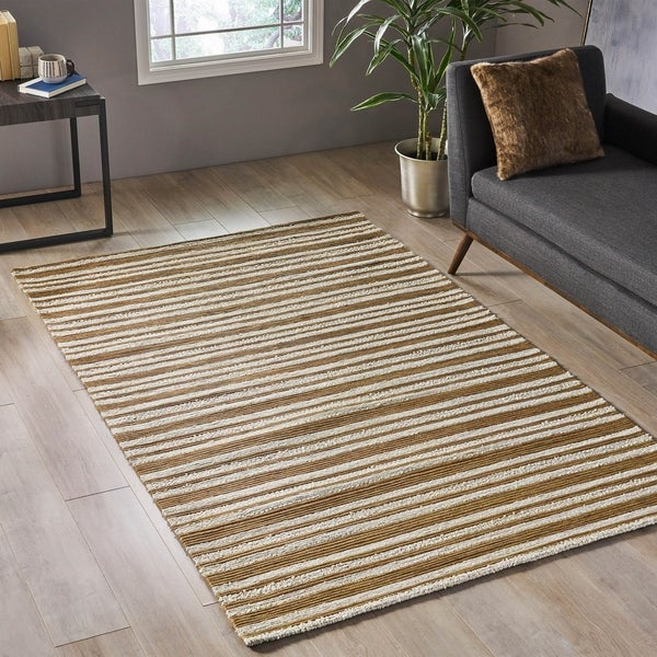 Farrin Modern Cotton and Fabric Area Rug by Christopher Knight Home - 5' x 8'. Opens flyout.
