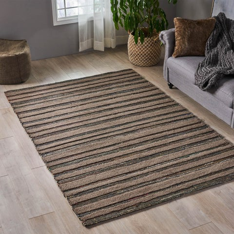Frederika Boho Leather and Wool Area Rug by Christopher Knight Home - N/A