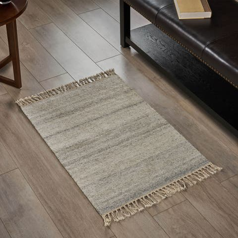 Ferel Transitional Wool Scatter Rug with Tassels by Christopher Knight Home