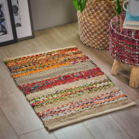 Laysan Boho Cotton and Hemp Scatter Rug by Christopher Knight Home