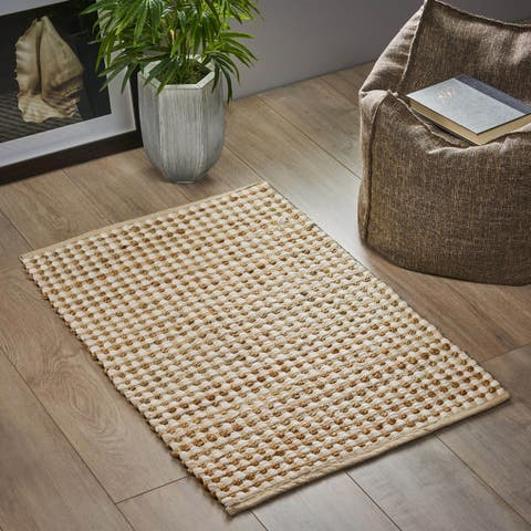 Lasos Boho Fabric and Hemp Scatter Rug by Christopher Knight Home