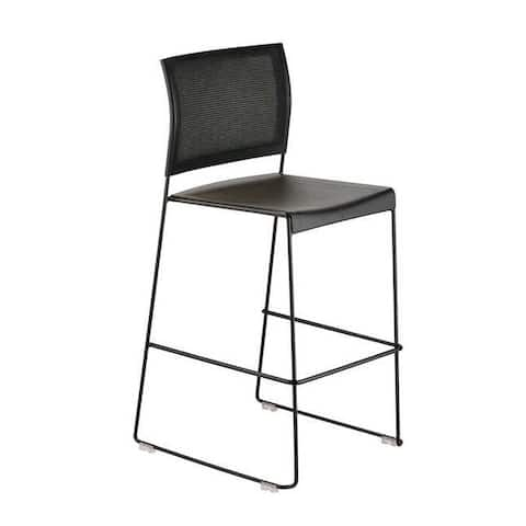 Safco Currant Solid Steel Bistro Height Stacking Chair - Black