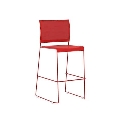 Safco Currant Chrome Plated Solid Steel Bistro Height Stacking Chair - Red