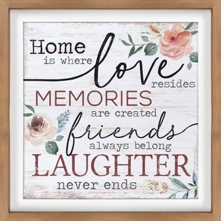 Home Is Where Love Resides Memories Are Created Friends Always Belong Laughter Never Ends Dimensional Decor