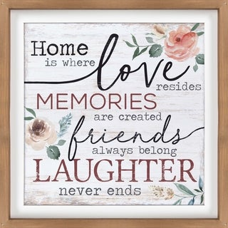 Home Is Where Love Resides Memories Are Created Friends Always Belong Laughter Never Ends Dimensional Décor