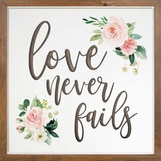 Love Never Fails Framed & Carved Art