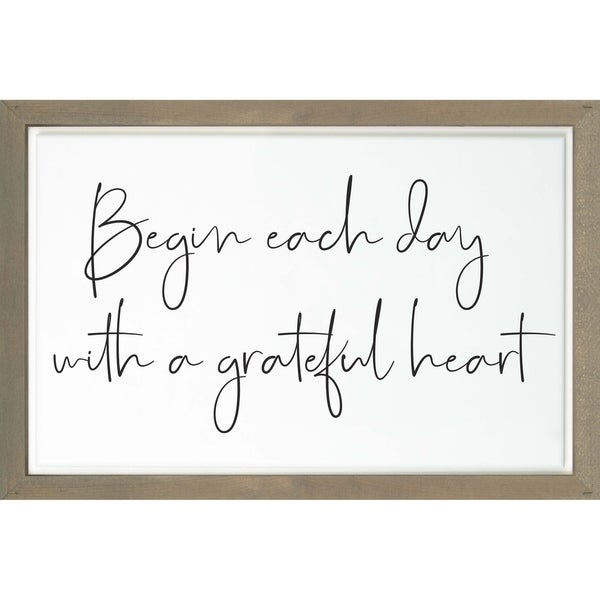Begin Each Day With A Grateful Heart Framed & Carved Art