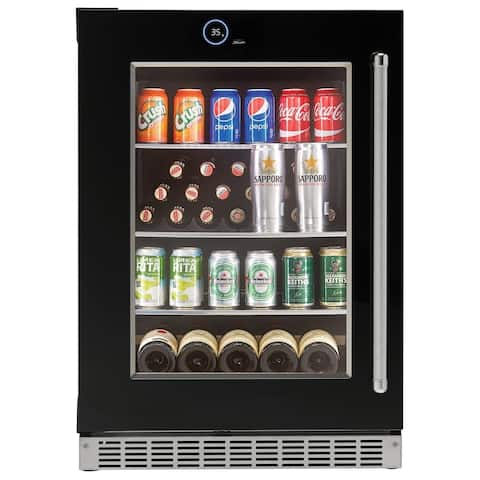 Danby Silhouette Reserve 5.0 Cu. Ft. Glass Door Built-in Refrigerator in Black with Left-hand Swing SRVBC050L