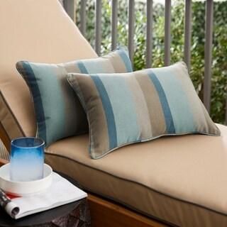 Sunbrella Blue Taupe Stripe Indoor/Outdoor Lumbar Pillow, Set of 2