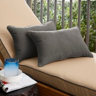 Sunbrella Coal Grey Indoor/Outdoor Lumbar Pillow, Set of 2