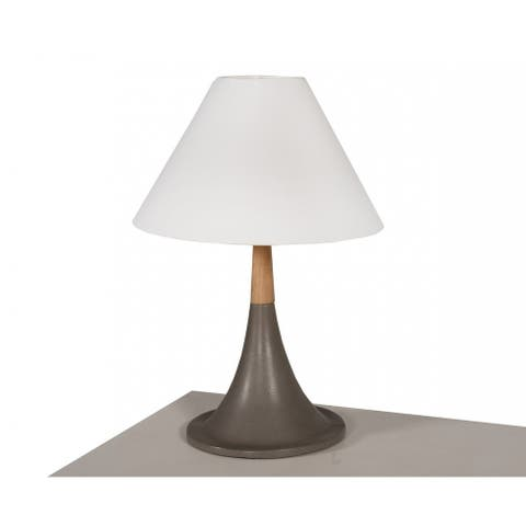 Modrest Nunez Modern Concrete & Oak Table Lamp