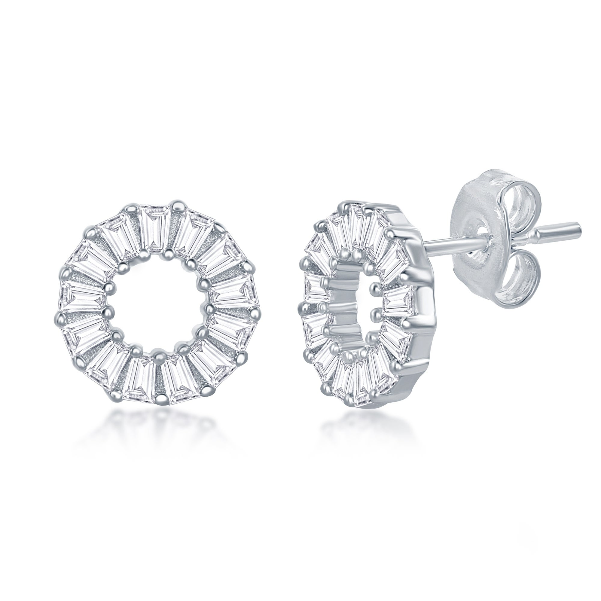 Rose Gold Plated Round Circle Cubic Zirconia Stud Earrings
