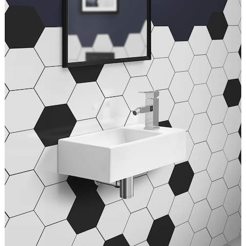 "19.5"" x 10"" Rectangular Ceramic Wall Hung Sink with Right Side Faucet Mount"