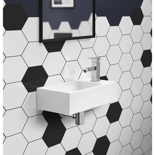 Voltaire 19.5 x 10 Rectangular Ceramic Wall Hung Sink with Right Side Faucet Mount