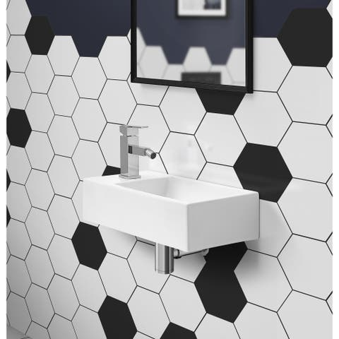 "19.5"" x 10"" Rectangular Ceramic Wall Hung Sink with Left Side Faucet Mount"