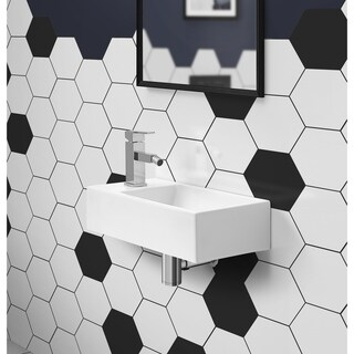 Voltaire Rectangular Ceramic Wall Hung Sink With Left Side Faucet Mount