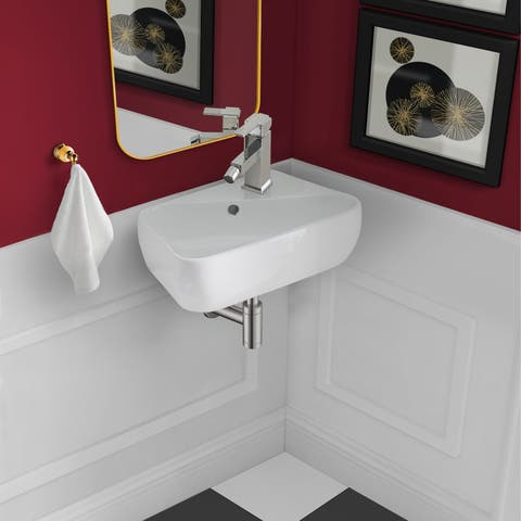 "18"" x 11"" Ceramic Wall Hung Sink with Right Side Faucet Mount"
