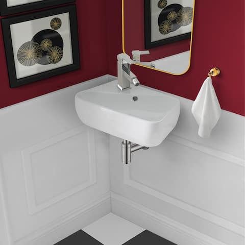 "18"" x 11"" Ceramic Wall Hung Sink with Left Side Faucet Mount"