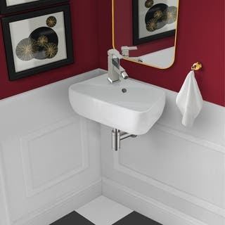 Plaisir Ceramic Wall Hung Sink with Left Side Faucet Mount