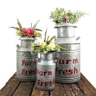 Set of 3 Old Style Galvanized Milk Jug Planters