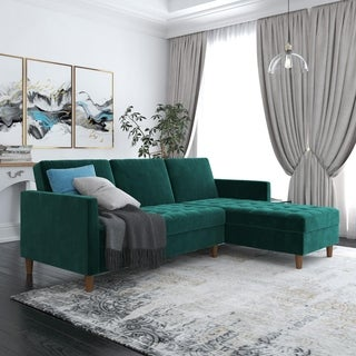 Silver Orchid Brody Green Velvet Storage Sectional Futon