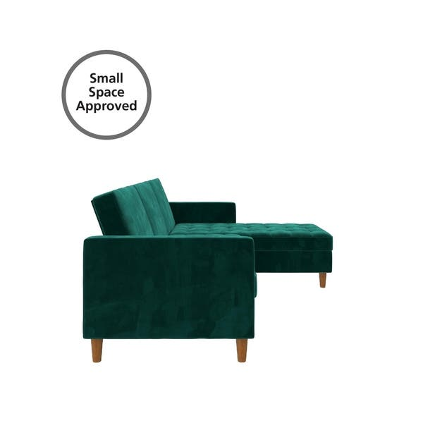 Silver Orchid Brody Green Velvet Storage Sectional