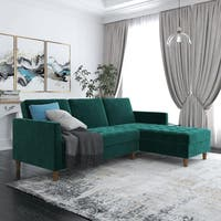 Avenue Greene Portia Green Velvet Storage Sectional Futon