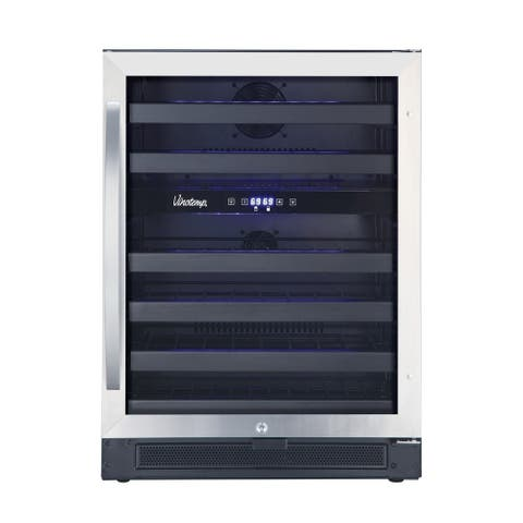 46-Bottle Dual-Zone Wine Cooler (Black And Stainless)