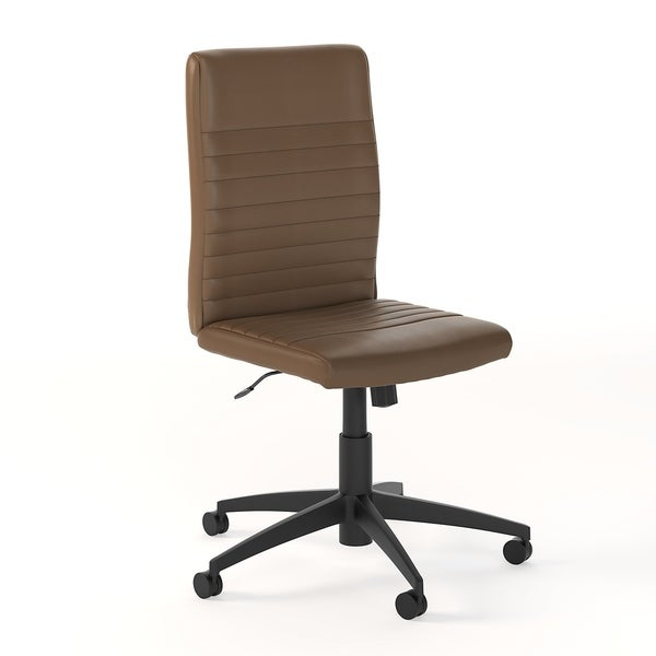 """Carbon Loft Narthech Mid-back Ribbed Leather Office Chair - 20.87""""L x 24.02""""W x 38.19""""H"""