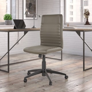 Bush Furniture Refinery Mid Back Ribbed Leather Office Chair