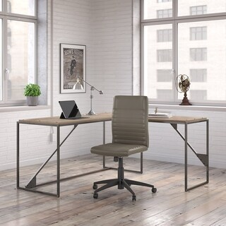 Bush Furniture Refinery L Shaped Desk with Ribbed Leather Office Chair