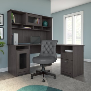 Copper Grove Burgas L-shaped Desk with Hutch and Tufted Office Chair