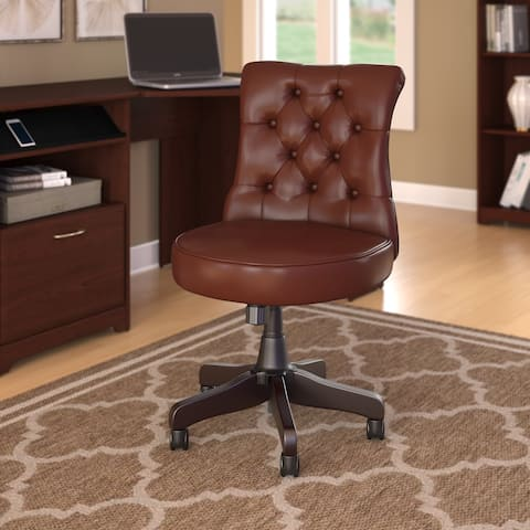 "Copper Grove Burgas Mid Back Tufted Office Chair in Cherry - 22.05""L x 25.79""W x 33.66""H"