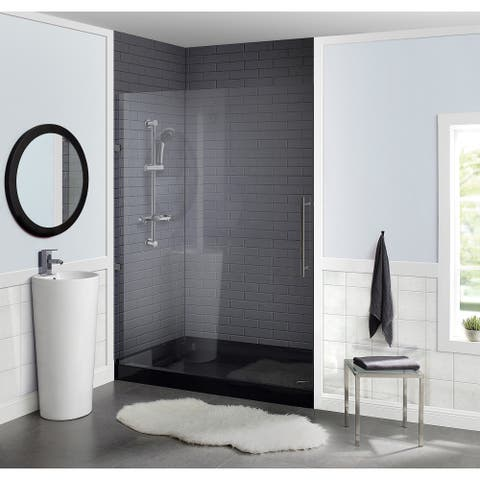 "Voltaire 60"" x 36"" Acrylic Black, Single-Threshold, Right Drain, Shower Base"