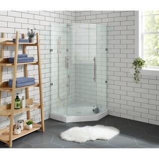 "Voltaire 36"" x 36"" Acrylic White, Single-Threshold, Center Drain, Neo-angle Shower Base"