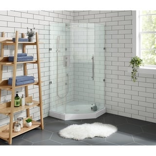 "Voltaire 36"" x 36"" Acrylic White, Single-Threshold, Center Drain, Neo-angle Shower Base"