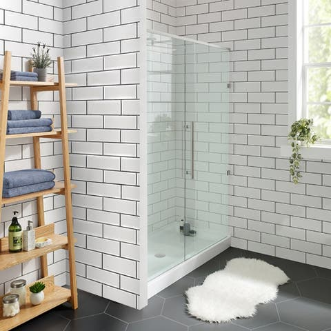 "Voltaire 48"" x 32"" Acrylic White, Single-Threshold, Center Drain, Shower Base"
