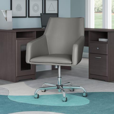"Porch & Den Tatnall Mid Back Bonded Leather Box Chair - 24.41""L x 24.80""W x 34.45""H"