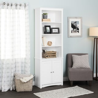 Tall Bookcase with 2 Shaker Doors, White