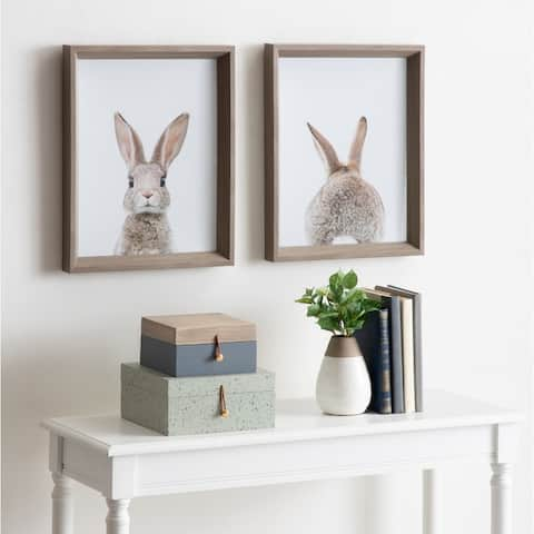 Kate and Laurel Calter Bunny Framed Print Art Set by Amy Peterson - Gray